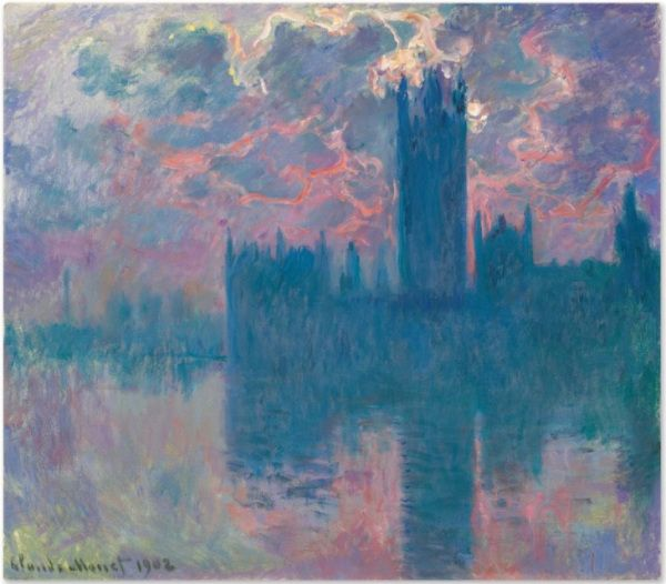 Lot 24a. Claude Monet (1840-1926) Le Parlement, soleil couchant (The Houses of Parliament, at Sunset) signed and dated 'Claude Monet 1902′ (lower left) oil on canvas: 32 x 36 5/8 in. (81.3 x 93 cm.) Painted in 1900-1901.