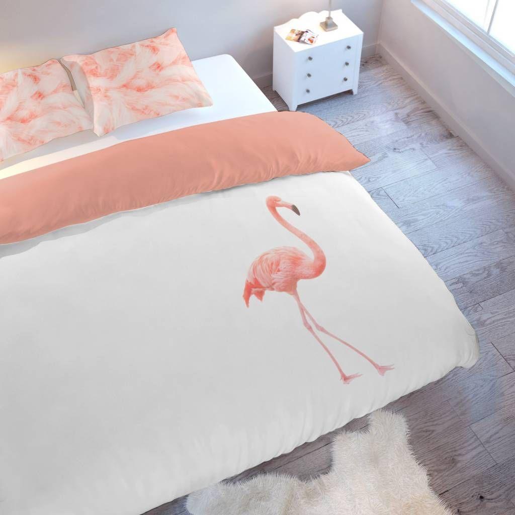 SPECIAAL VOOR DE FEESTDAGEN! Dekbedovertrek met een flamingo  Mooie roze Flamingo op een witte