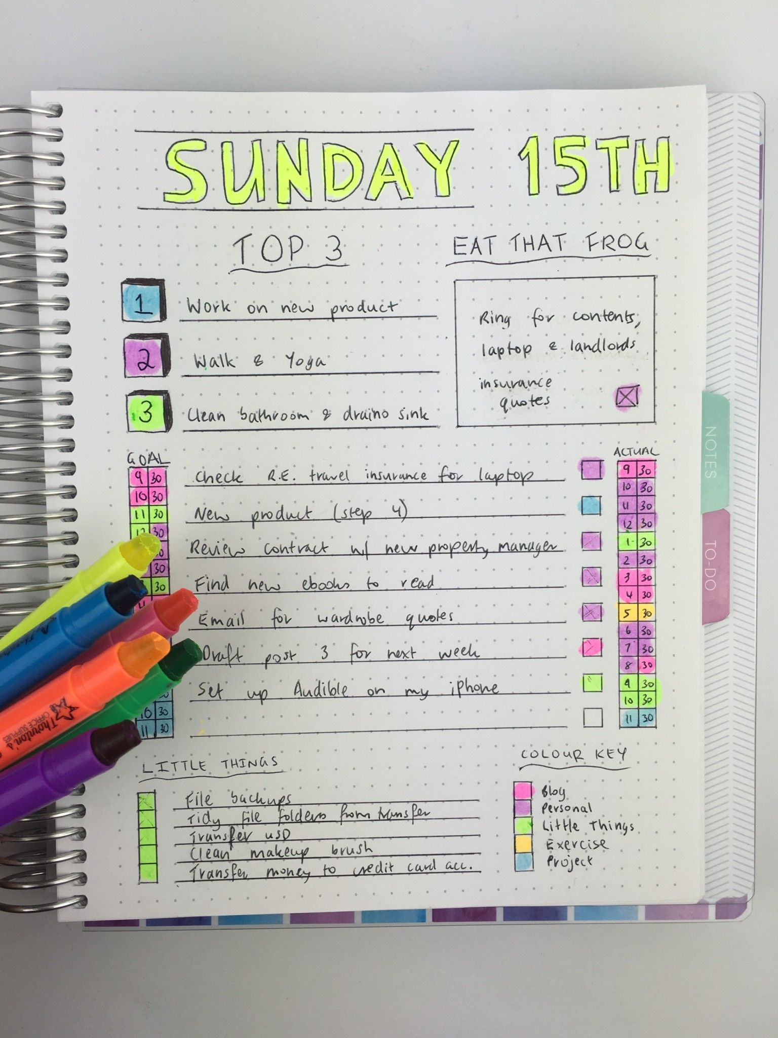 bullet journal daily spread ideas banner title color coding ...