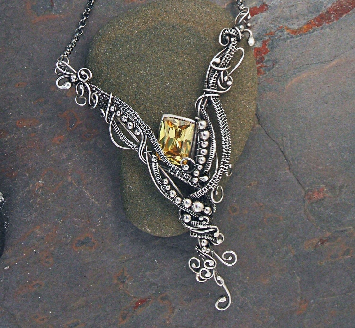 Wirework necklace by Twistedsisterarts. This lady has been rocking ...