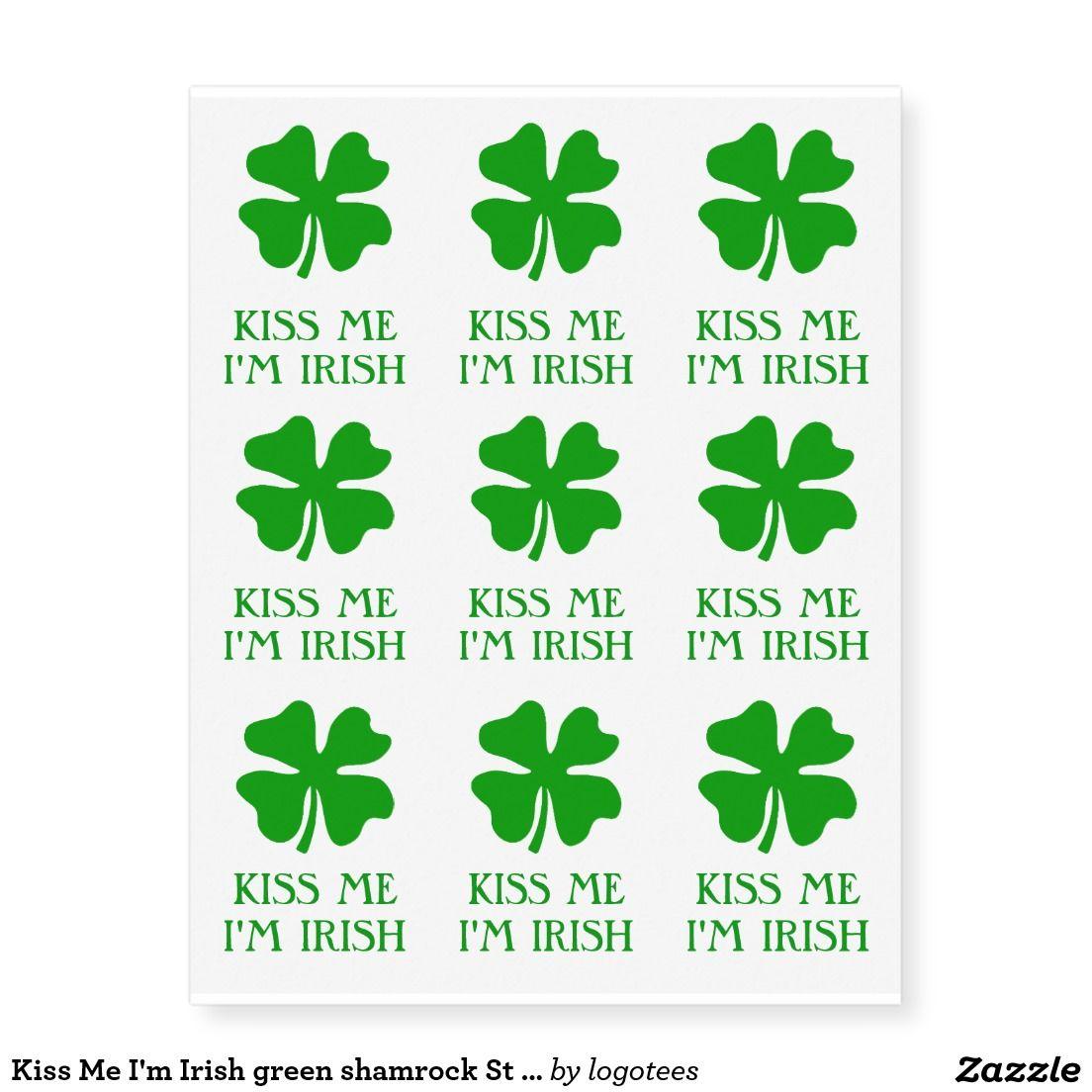 Henna Tattoo Kits Ireland: Kiss Me I'm Irish Green Shamrock St Patricks Day Temporary