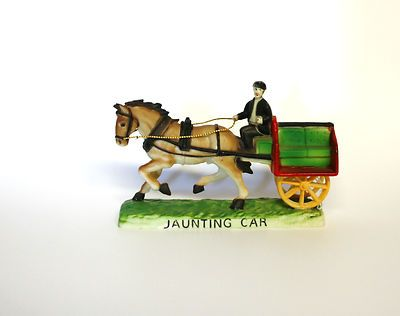 KITSCH Bakelite Jaunting Car figurine toy Horse Cart Colourful Collectable DECO
