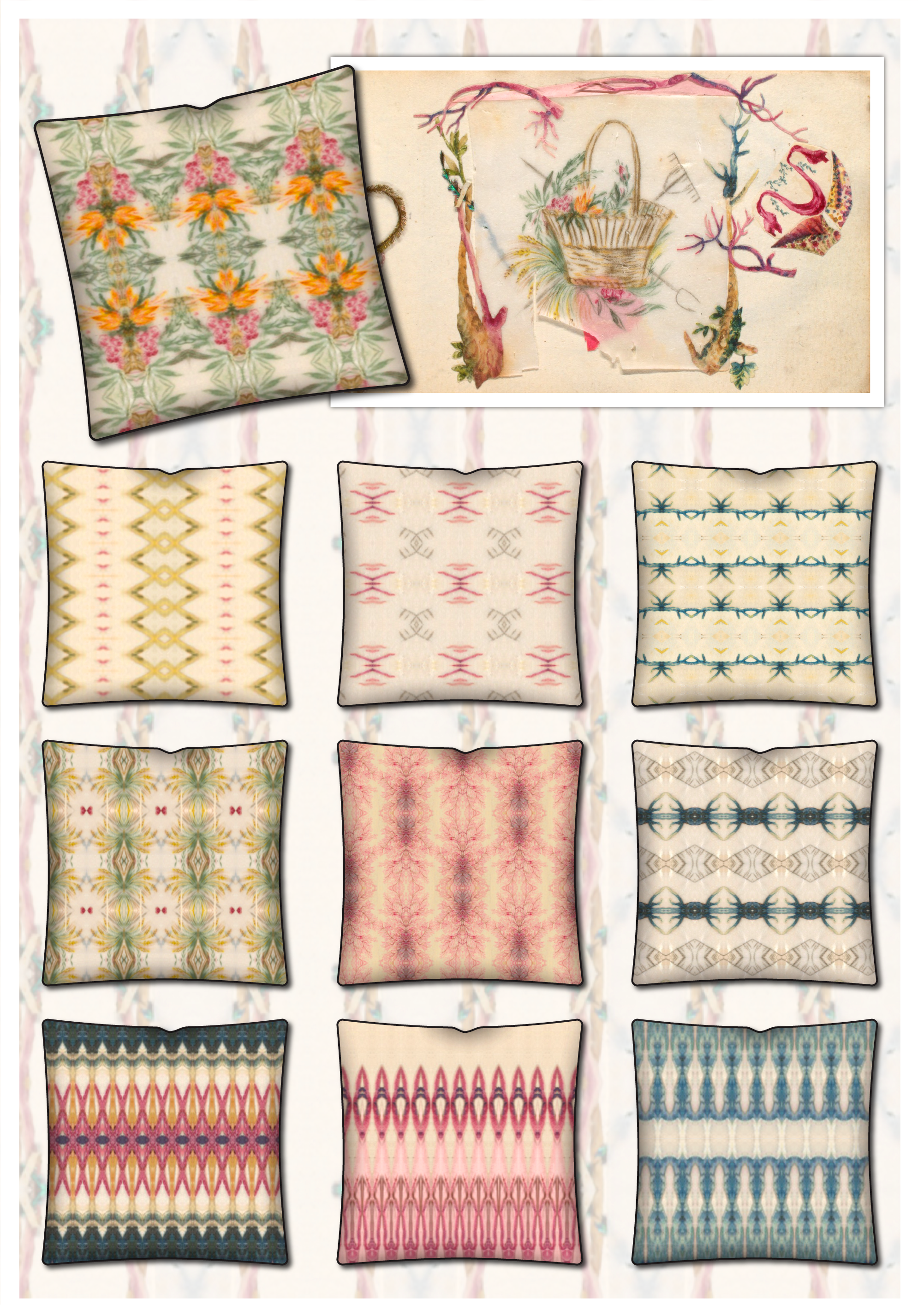 textile designs all created on the designlens iphone app u using