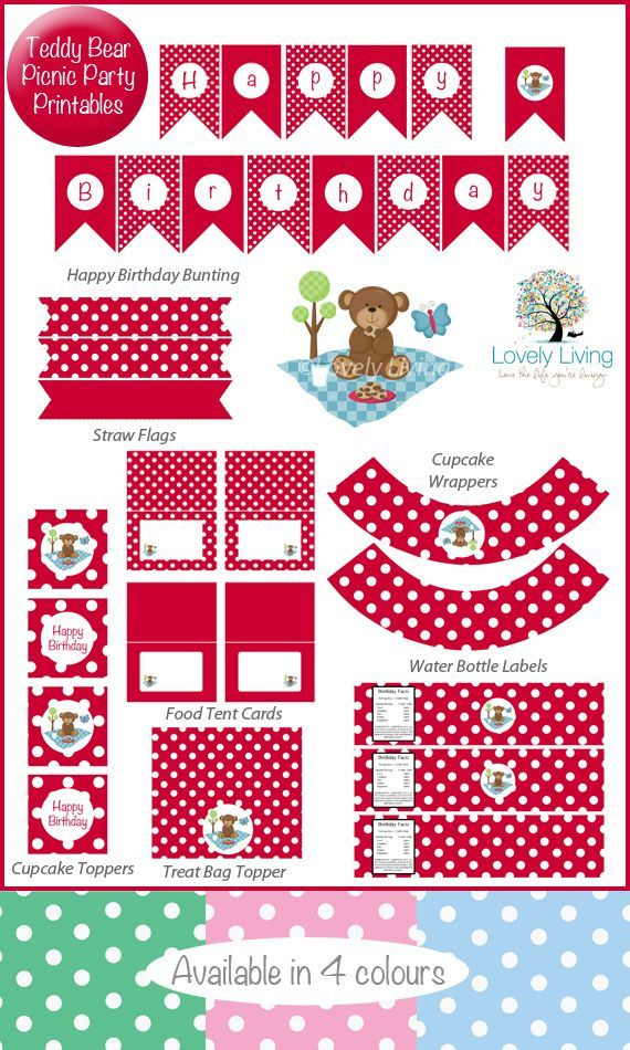 Free ***Teddy Bear Picnic Party Printable Collection - In 4 Colours - would 4 free