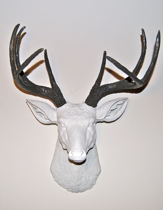 Faux Deer Head Wall Mount White And Gray Antlers Deer Head Etsy Faux Deer Head Faux Deer Head Wall Faux Deer