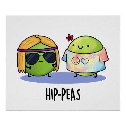 Hip-peas Cute Hippie Peas Pun Poster   Zazzle.com