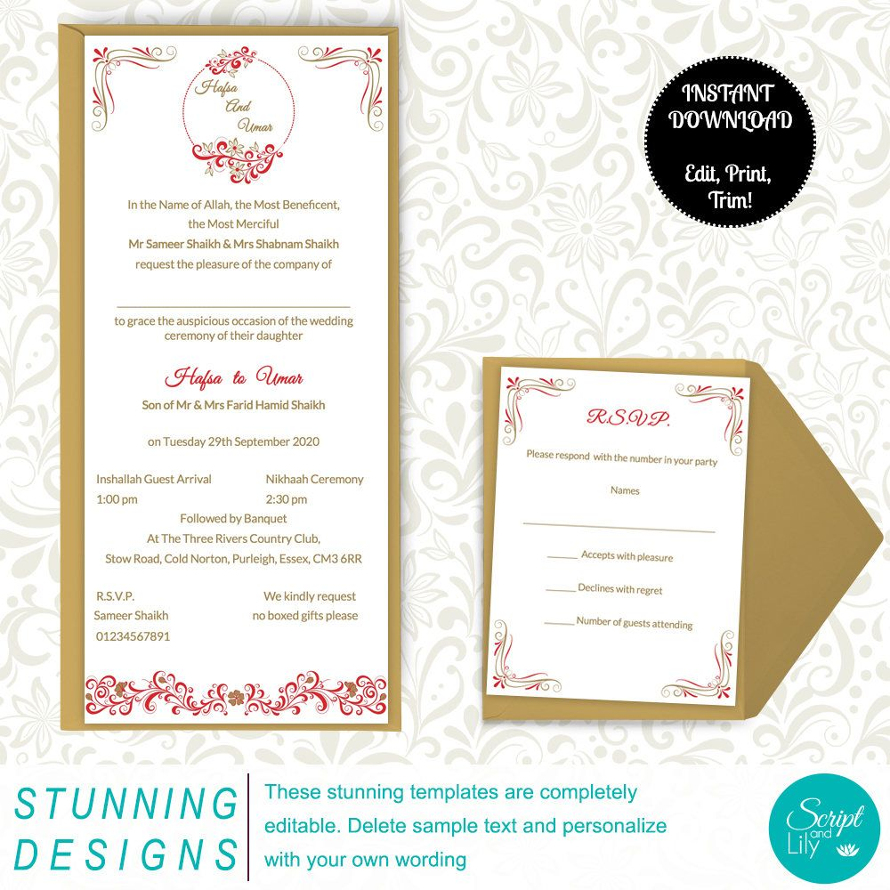 Asian Wedding Invitation Template | FREE RSVP Card | Elegant | Red ...