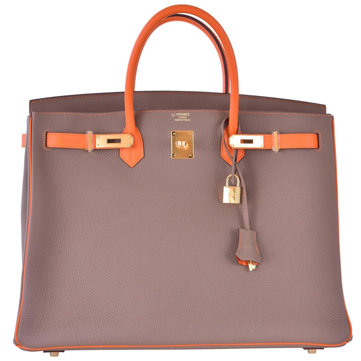 8d6677e4476d Hermes Birkin Bag Etoupe 40cm Special Order with Orange Gold Hardware  JaneFinds For Sale at 1stdibs
