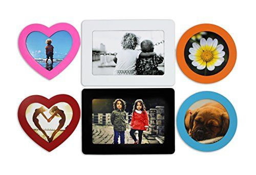 Premium Set of 6 Magnetic Picture Frames for Home, Office, Refrigerator, Locker, or Any Metal Surface. 2 Standard 4 x 6 inch, 2 Heart shape and 2 Round Shape Frames in Assorted Colors by Bins