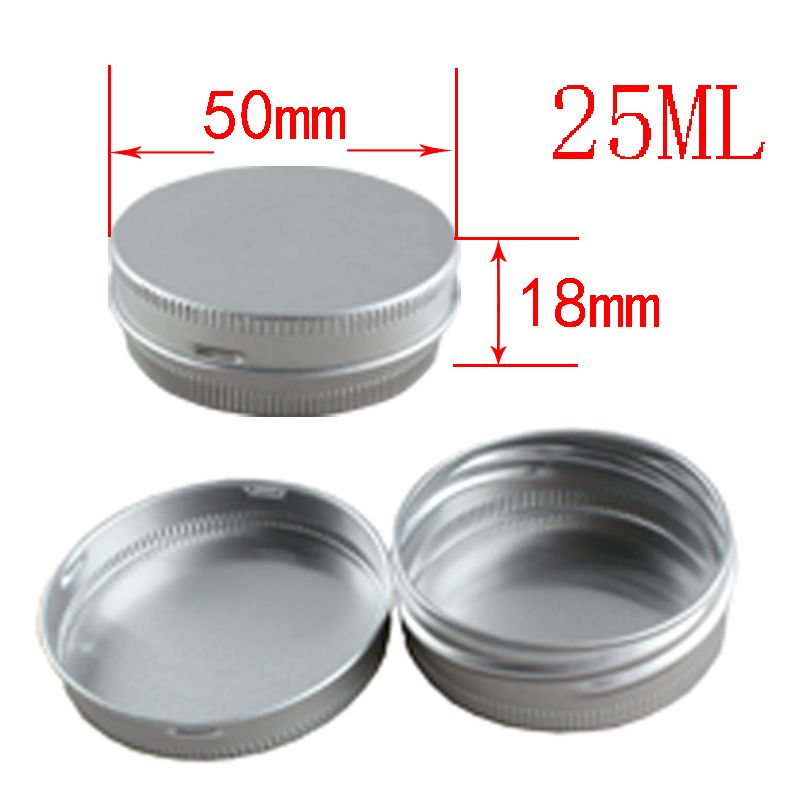 25g empty silver aluminum cosmetic package containers jars