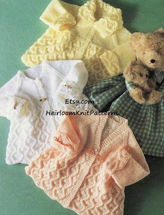 7c038ec32961 Baby Matinee Coats Vintage Knitting Pattern DK  4Ply Baby Coats ...