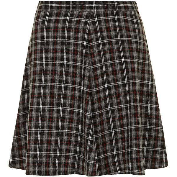 Dorothy Perkins Grey and red check skater skirt ($12) ❤ liked on Polyvore featuring skirts, grey skirt, knee length skater skirt, gray skater skirt, red checkered skirt and circle skater skirt