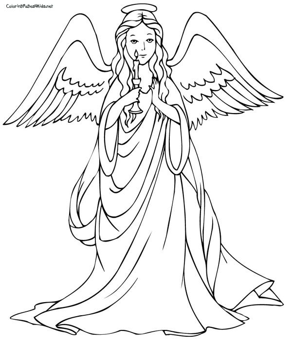 angel coloring pages to print Christmas Angels Coloring Pages