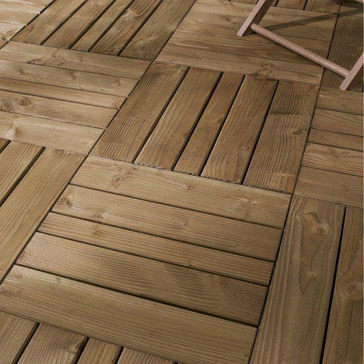 Dalle à poser NATERIAL Douglas en bois, L 50 cm x larg 50 cm x Ep - pose dalle terrasse sur beton