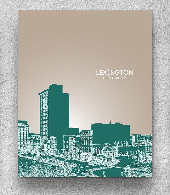 Lexington Ky Skyline Poster Home Office Or Nursery Pop Art Print Any City Landmark