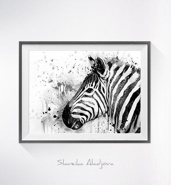 Black & White Zebra 2 watercolor painting print by Slaveika Aladjova ...