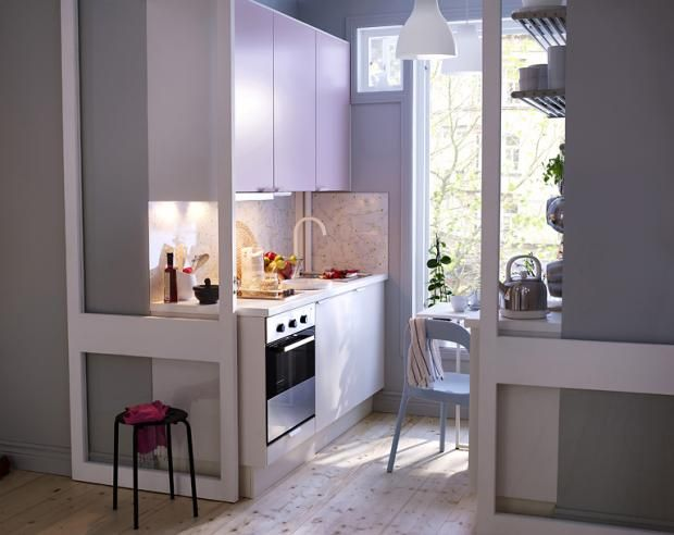 kleine küche einrichten schmaler raum offene regale küchen - essecken für küchen