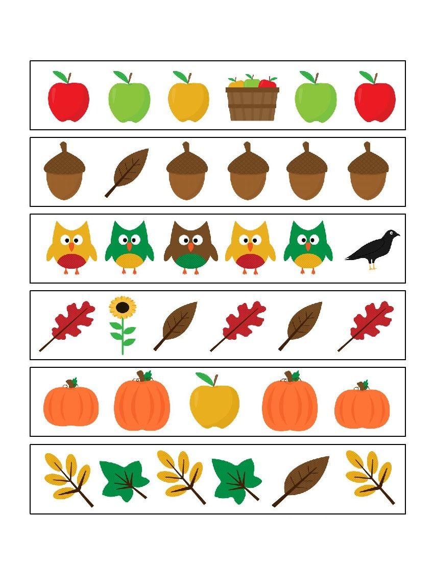 Jesien Karty Pracy 1 Fall Preschool Worksheets Fall Math Fall Preschool