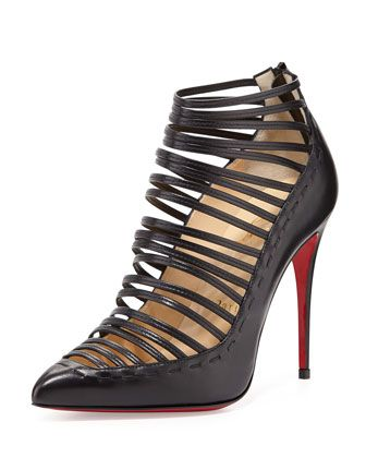 Gortik+Strappy+Red-Sole+Bootie,+Black+by+Christian+Louboutin+at+Bergdorf+Goodman.