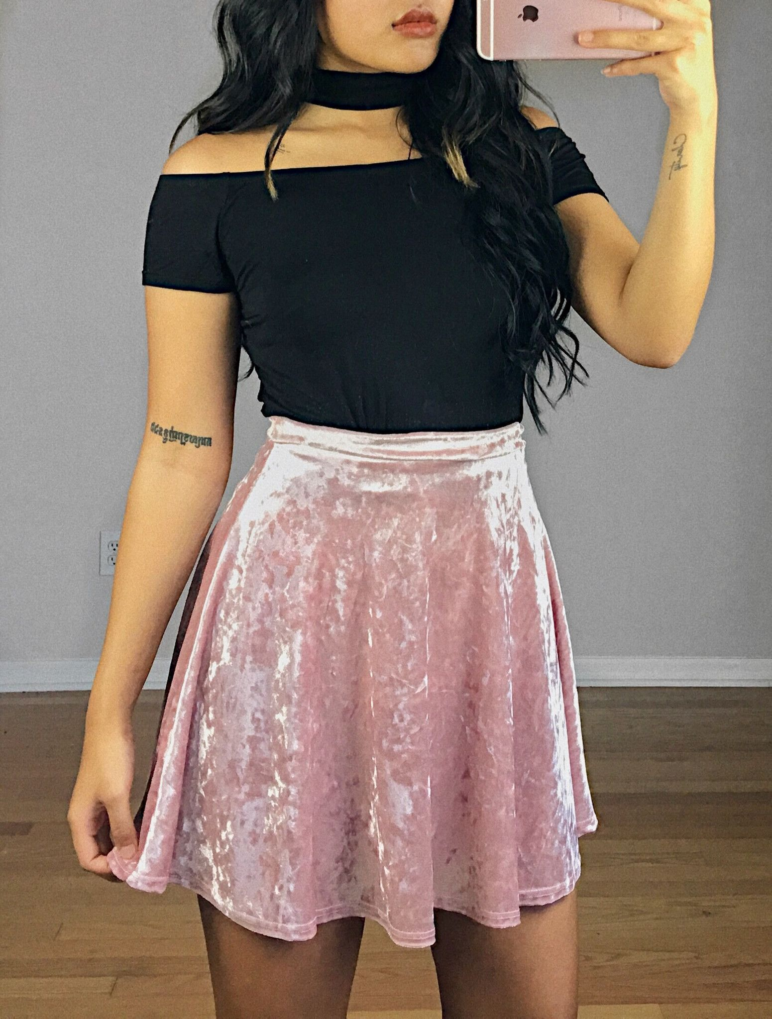 Pink top and black skirt. Velvet Skirt 90% Polyester 10% Spandex Made in  USA Pictured  Size Small b3ffa1b2e