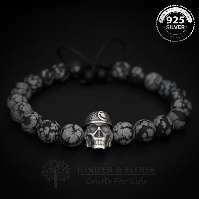 Skull bracelet mens bracelet smiley skull soldier skull black