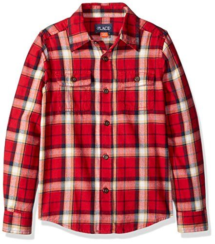 The Childrens Place Boys Little Boys Long Sleeve Brushed Shirt Classic Red Small56 ** Click on the image for additional details.Note:It is affiliate link to Amazon.