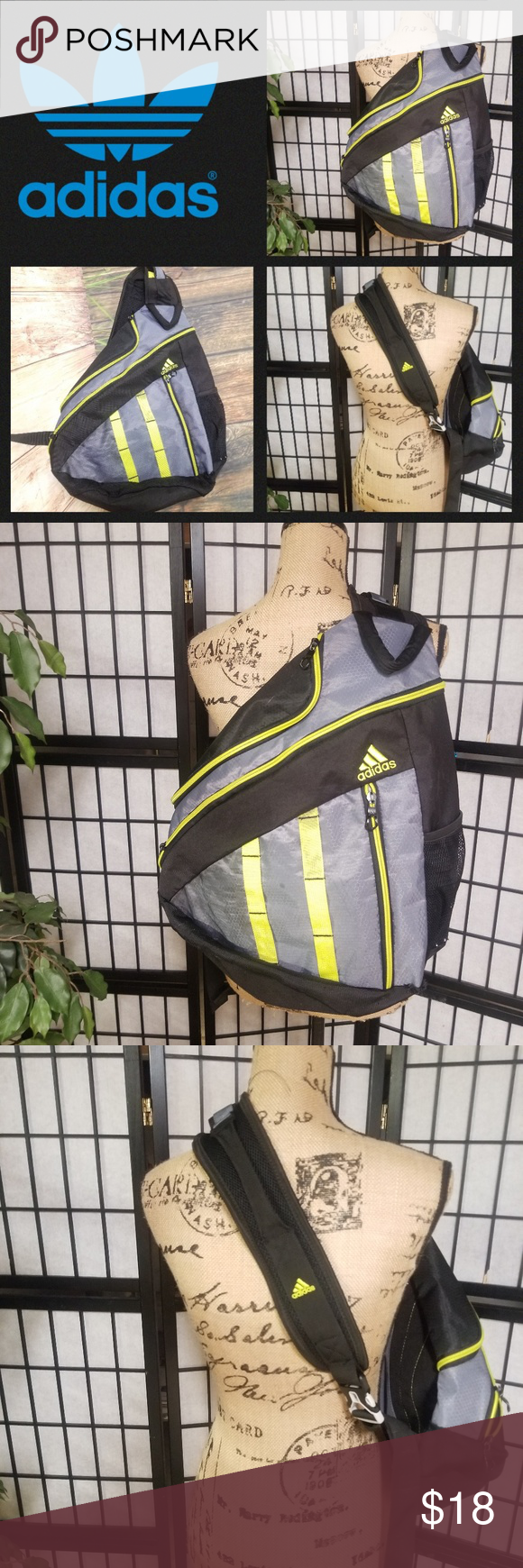 f8cbda5401 📒📓Adidas BackPack grey and green color📓📒 Adidas BackPack black grey and lime  green color. Pre carried in good condition. It does have some stains on the  ...