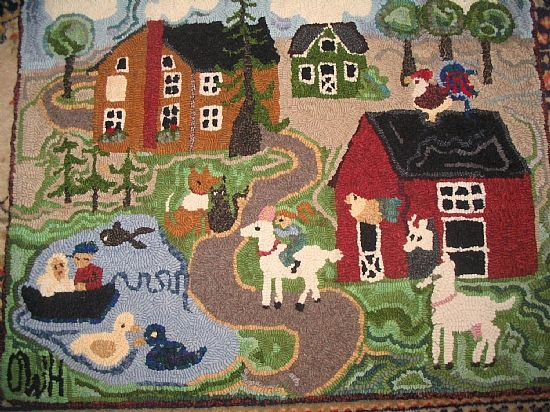 Our Farm...Hand-hooked wool rug...