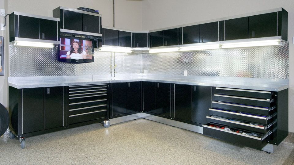 Wonderful Amazing And Gorgeous Garage Cabinets Ideas With Black