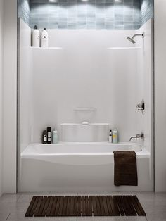 It s been so difficult to find an attractive one piece acrylic or  fiberglass tub shower enclosure Love the storage in this unit tile above bathroom Pinterest Tubs Bath