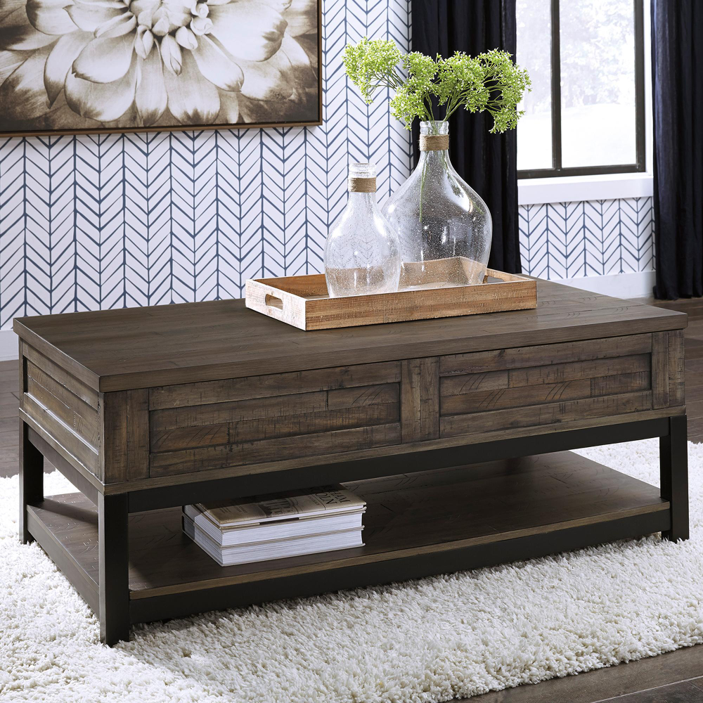 Signature Design By Ashley Johurst Lift Top Cocktail Table In Grayish Brown And Black Nfm Coffee Table Antique White Coffee Table Lift Top Coffee Table [ 1000 x 1000 Pixel ]