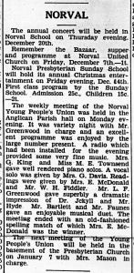 Christmas Social Doings, Norval, 1928 - Lucy Maud Montgomery wins the town Spelling Bee!