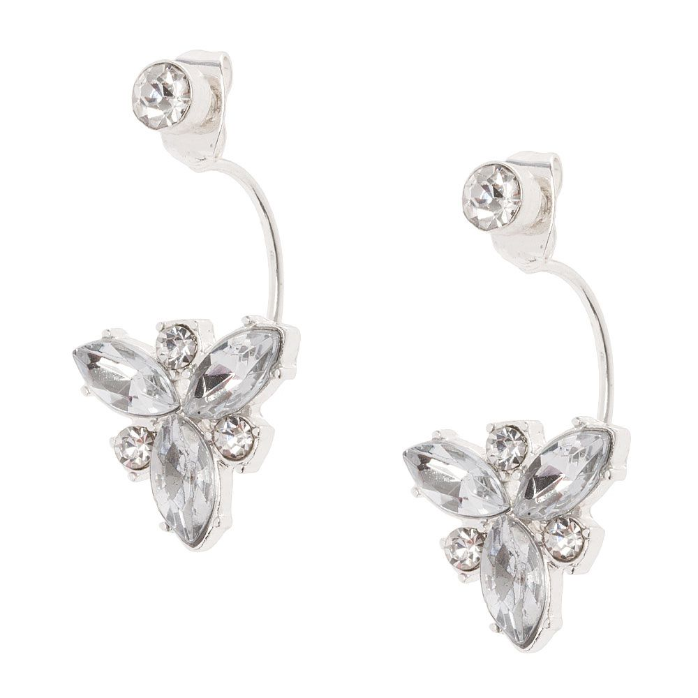 """<P>Add brilliant sparkle to your style with this pair of fancy earrings. A small round crystal is in the front while a cluster of marquis and round crystals are attached to a curved bar in the back.</P><UL><LI>Silver-tone finish<LI>Post back<LI>Front and back design<LI>Drop: 1""""L</LI></UL>"""