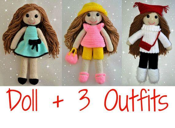 Crochet doll pattern plus crochet doll clothes pattern, amigurumi ...
