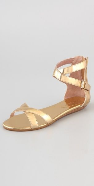 Gold flat sandals, Ankle strap flats