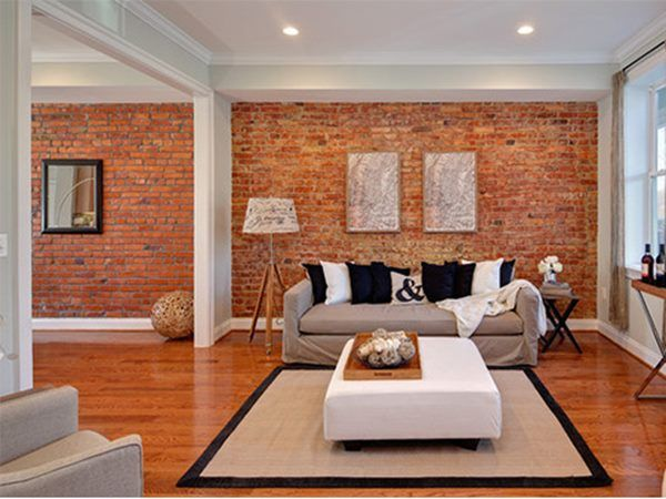 House Interior Wall Design 3d reflective decal Red Brick Wall Design For Modern House Interior