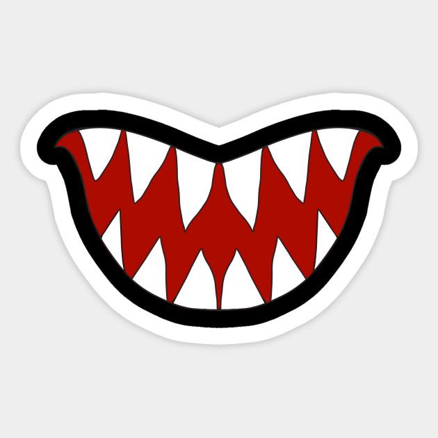 Funny Cartoon Monster Big Sharp Teeth Smile Teeth Sticker Teepublic Funny Monstersmile Cartoony Cartoonmonst Funny Cartoon Cartoon Monsters Stickers