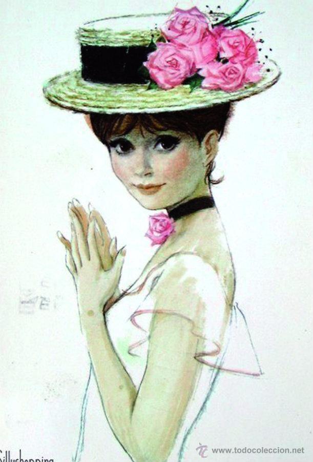 Postal Chicas 1 Ilustracion Clasica Produccion Artistica Ilustraciones Vintage