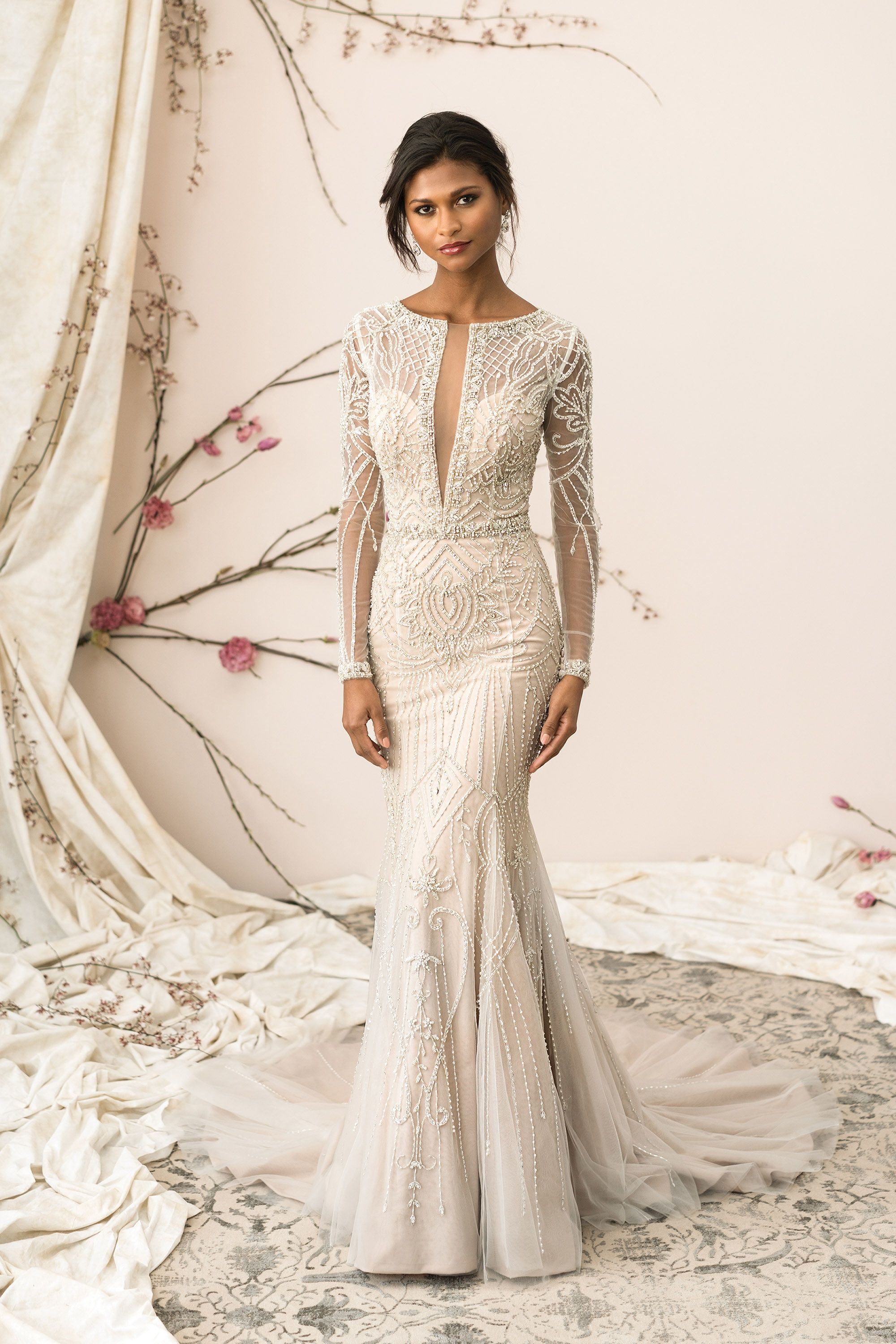 8cb2924bc87a Justin Alexander Signature-Plunging V-Neck Allover Beaded Fit and Flare Gown  The Persnickety Bride will have Justin Alexander Dresses in stock in  December ...
