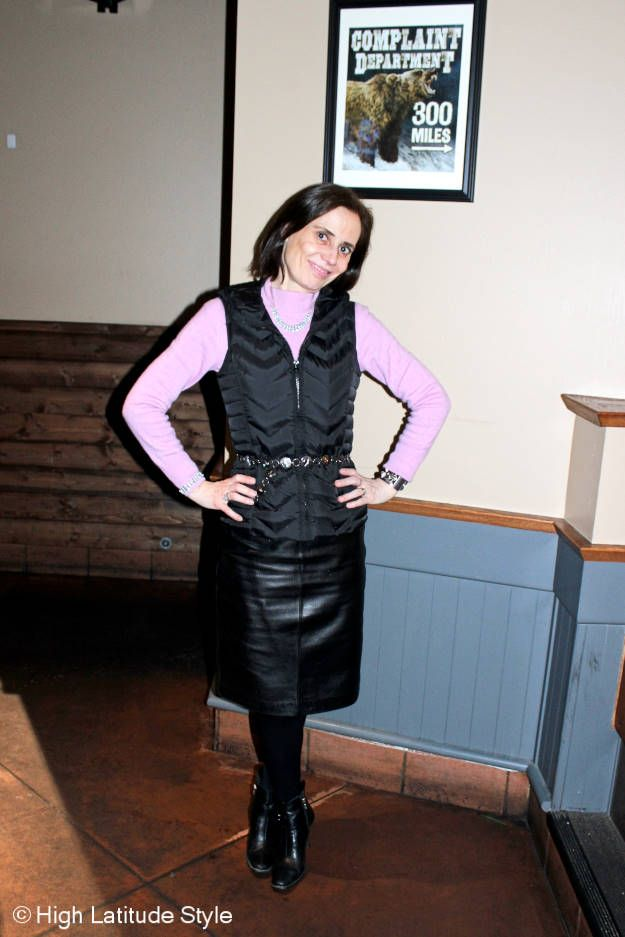great milf in leather skirt