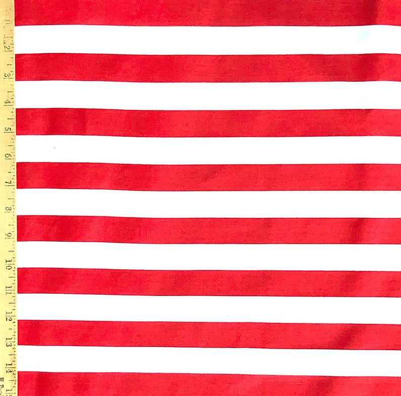 Usa Flag White And Red Stripes Poly Cotton Fabric 1 Inch Etsy In 2020 Red Stripes Fabric Stripes