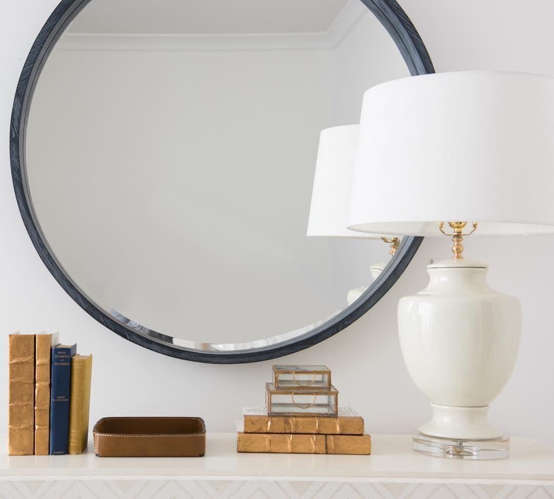 Abbott Mirror Round Mirrors White Porcelain And Blue Grey