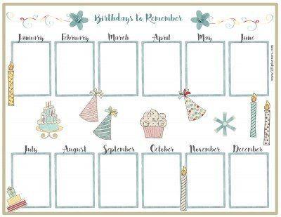 Free Birthday Calendar Agenda Birthday calendar, Birthday