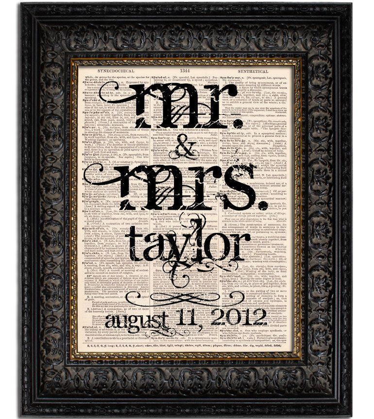 Custom Wedding Gift Mr And Mrs Last Name With Date Sign Art