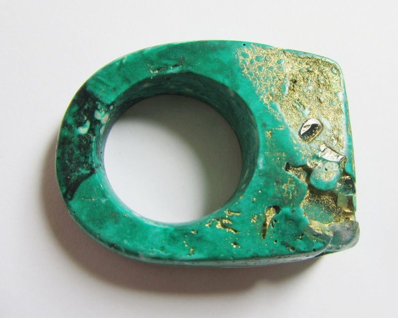 ring by Jade Mellor - her rings are made from resin but include materials like marble, granite, pyrite, carnelian and quartz.
