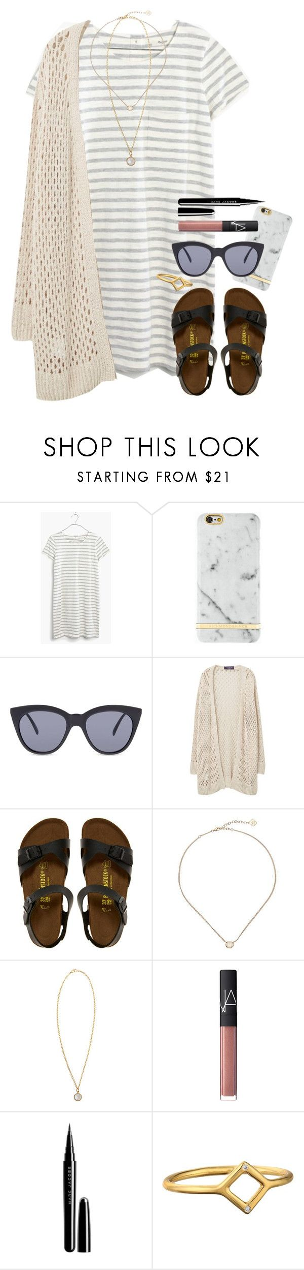 xoxo by shopgirll on Polyvore featuring Madewell, Violeta by Mango, Birkenstock, Irene Neuwirth, Kendra Scott, Gorjana, Le Specs, Richmond & Finch, Marc Jacobs and NARS Cosmetics