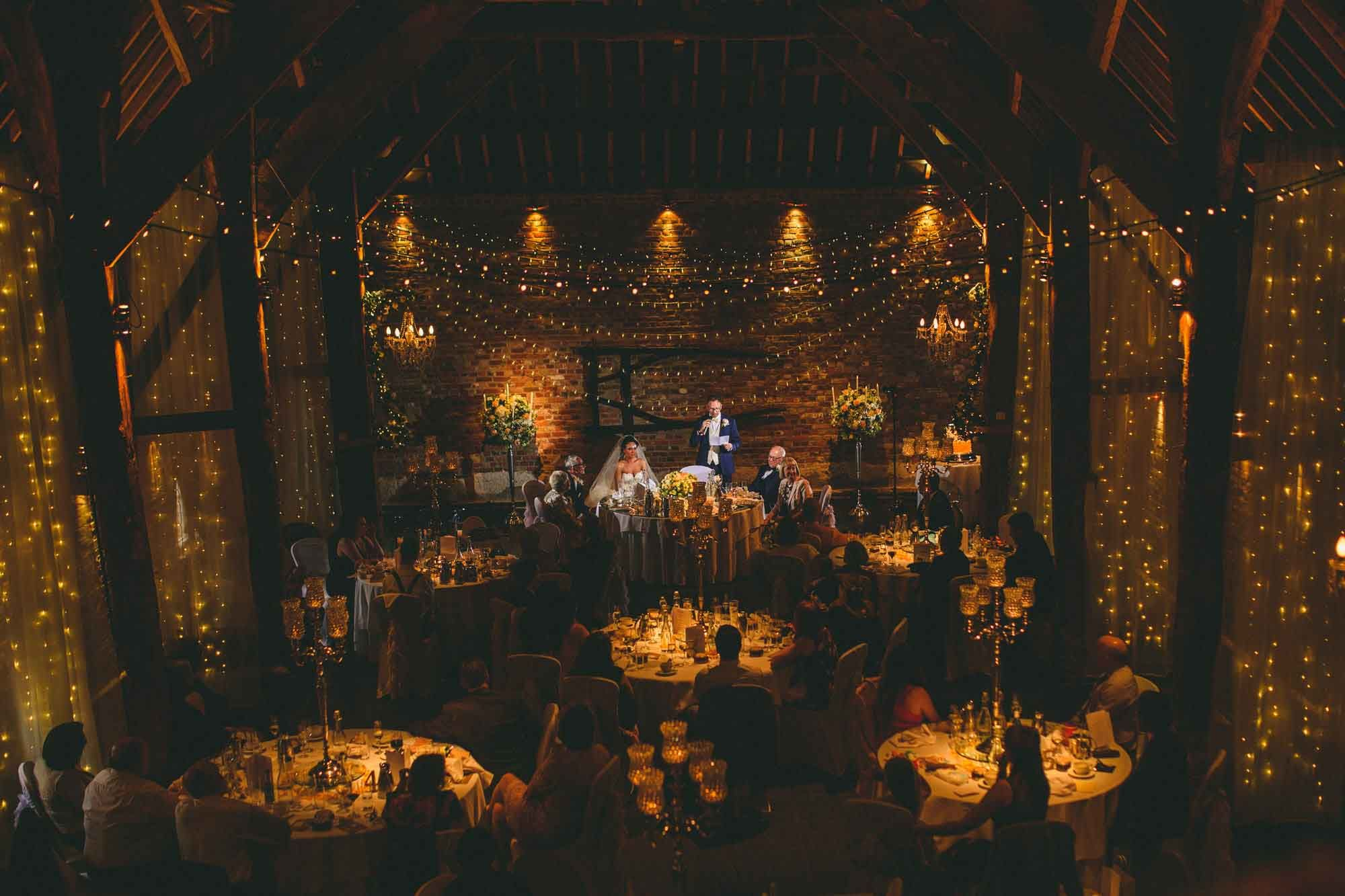 Barn wedding with fairy lights  Cooling Castle Barn Wedding  Barn weddings Barn and Castles
