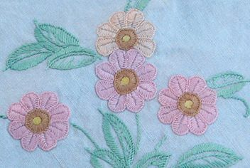Vintage Beautiful Hand Embroidered Tablecloth
