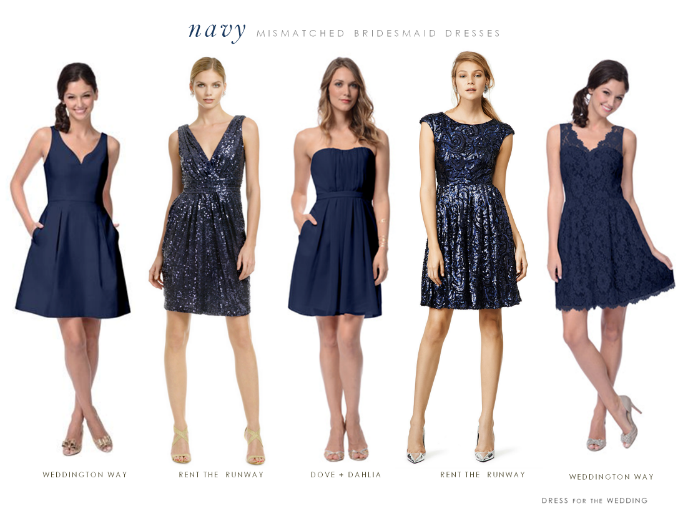 f9b9e2bace7 Mismatched Bridesmaid Dresses in Navy Blue