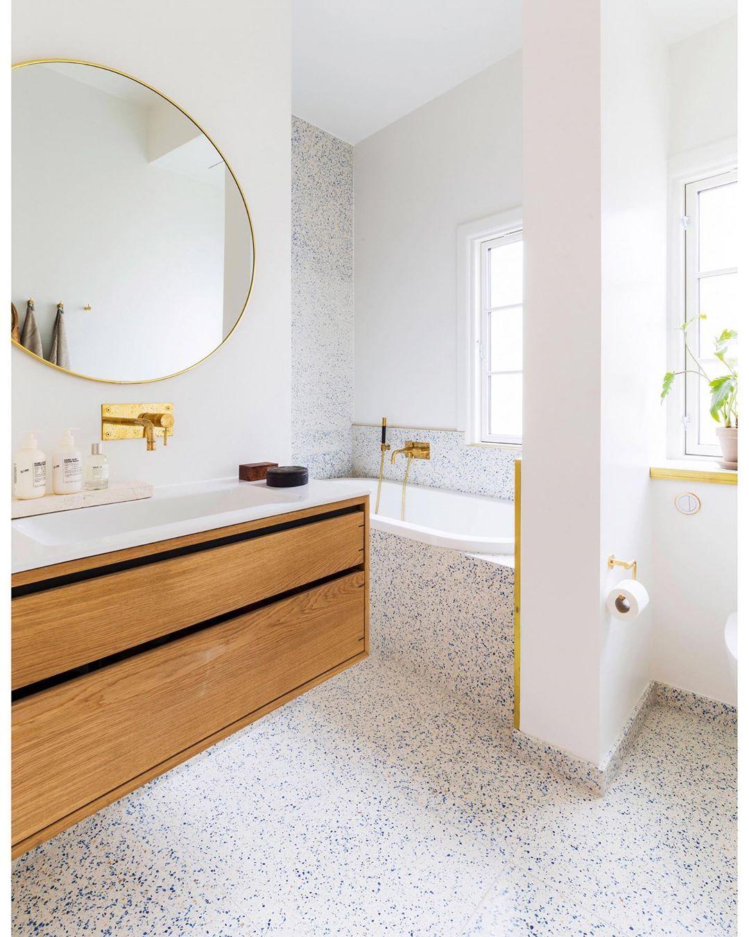 Huguet Mallorca S Instagram Post Bathrooms With Our Paris White Terrazzo Tiles And This Wonder In 2020 Bathroom Wood Shelves Bathroom Interior Brown Bathroom Decor